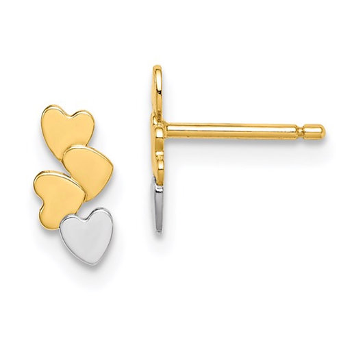 14k Madi K and White Rhodium Hearts Post Earrings