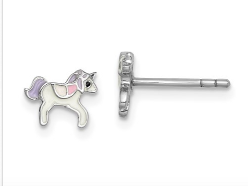 Sterling Silver Rhodium-Plated Childs Enameled Unicorn Post Earrings