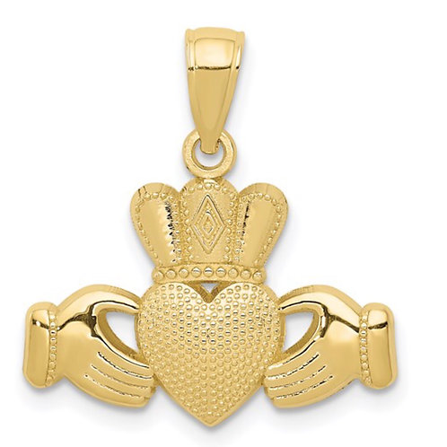 10K Claddagh Pendant with Textured Crown