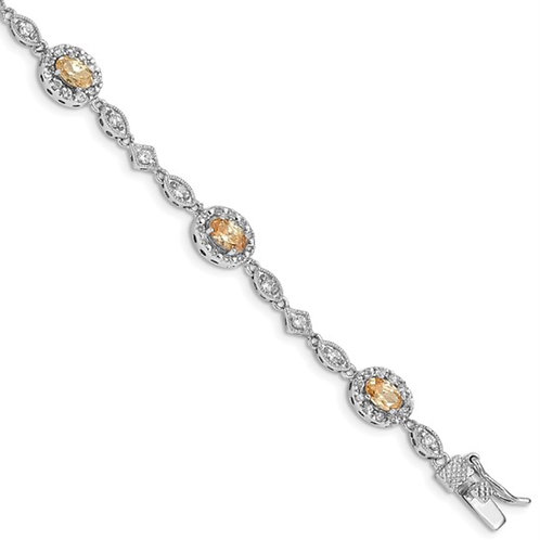 Sterling Silver Rhodium-plated 7inch Champagne CZ Bracelet