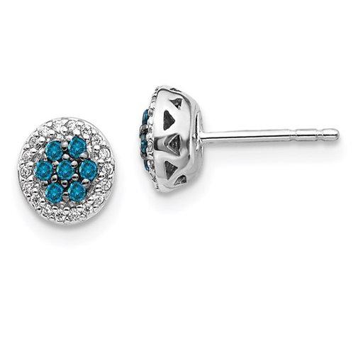 14k White Gold Blue/White Diamond Cluster Post Earrings