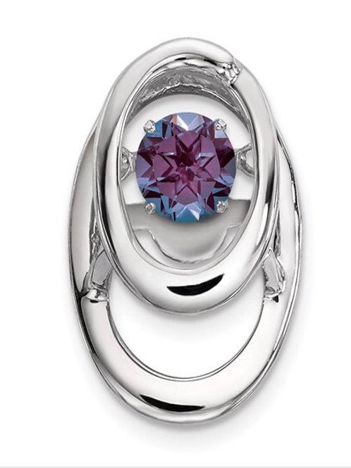 Sterling Silver Rhodium Created Alexandrite Birthstone Vibrant Chain Slide