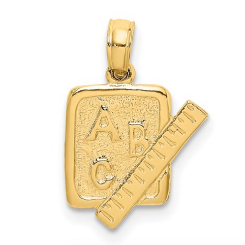 14K School Book And Ruler Charm