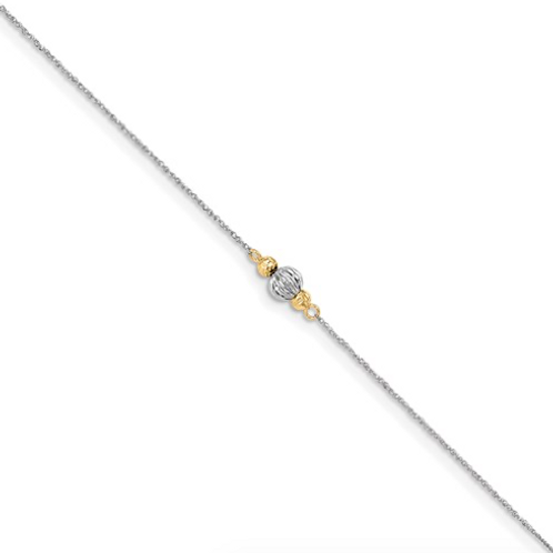 14K White Gold Ropa Two-Tone Diamond Cut Bead 9in Plus 1in Ext. Anklet