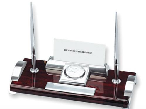Clock Card Holder And Two Pen Desk Set