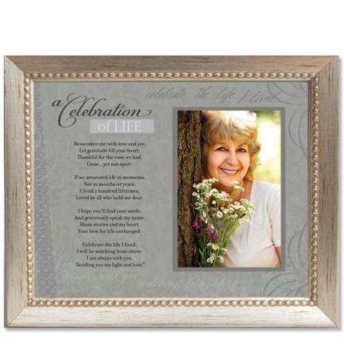 A Celebration Of Life Sentiment 4x6 Photo Silver-Tone Memorial Frame