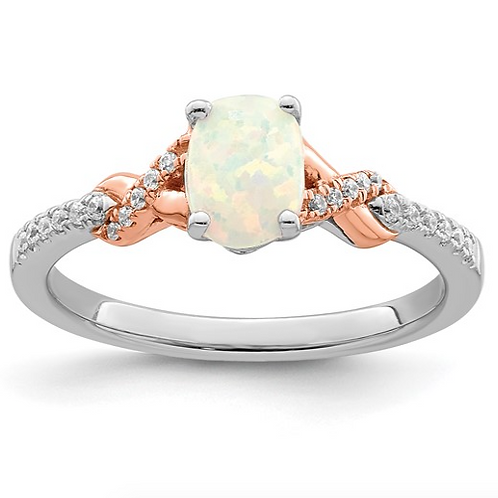 14k Two-tone Polished Oval Opal and Diamond Ring