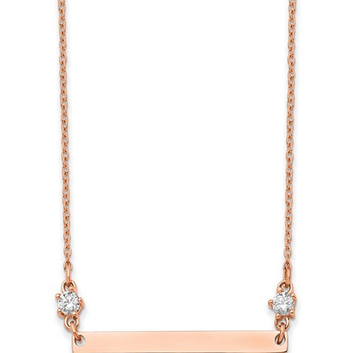 Stainless Steel Polished Rose IP-plated with CZ Stars 18in Bar Necklace