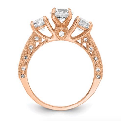 10K Tiara Collection Rose Gold Polished CZ Ring