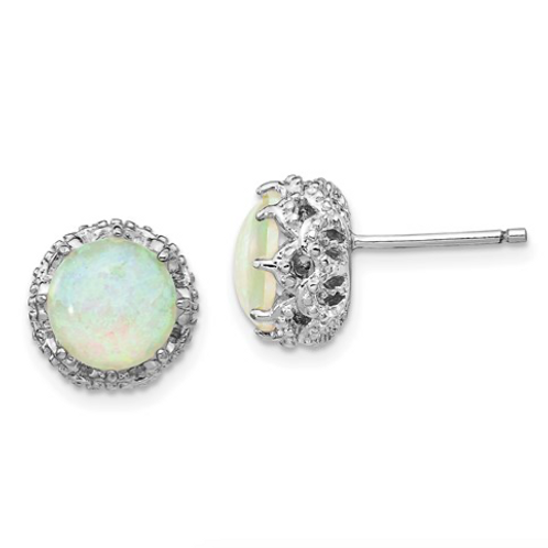 Cheryl M Sterling Silver Rhodium Plated Created White Opal Stud Earrings