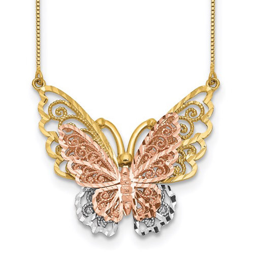 14k Yellow and Rose Gold with Rhodium Butterfly Necklace