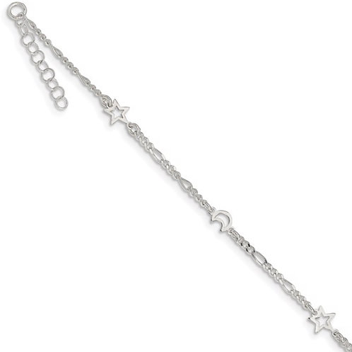 Sterling Silver Polished Moon and Star 9in Plus 1in Ext. Anklet