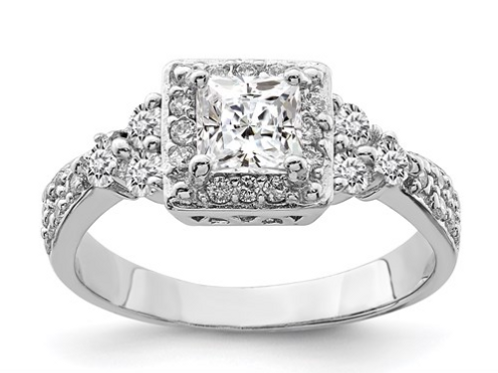 Sterling Silver Square CZ Ring