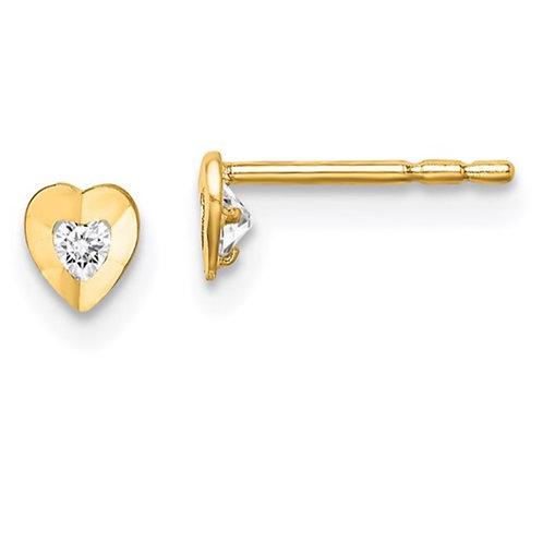 14k Madi K CZ Diamond-Cut Heart Post Earrings