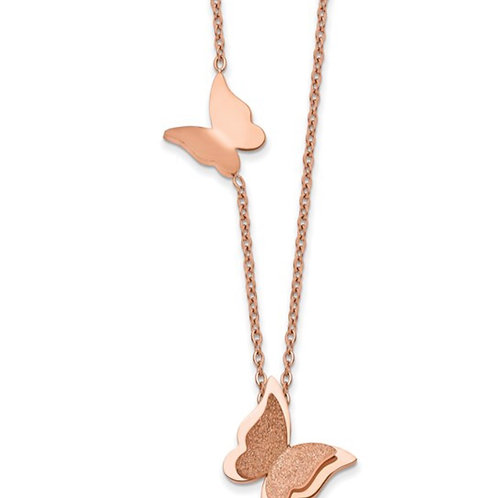 Stainless Steel Polished D/C Rose IP-plated Butterfly with 3in ext 16in Neckla