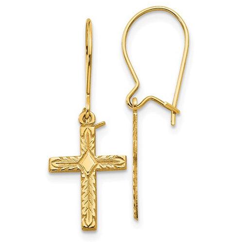 14k Polished and Satin Cross Earrings