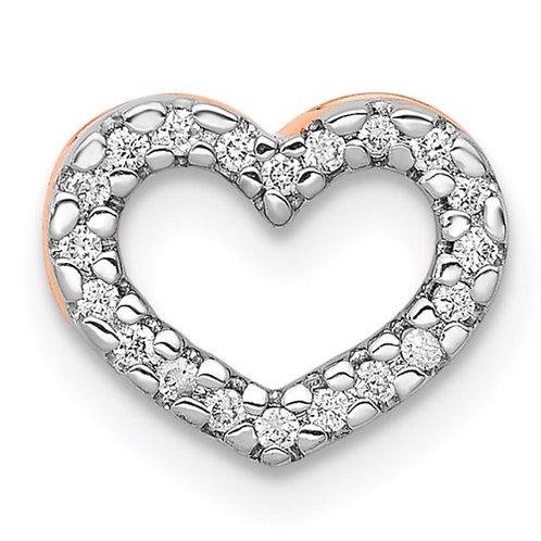 14k Rose Gold 1/15ct. Diamond Heart Chain Slide