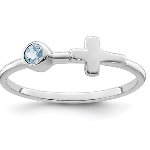 Sterling Silver Rhodium-plated Polished Cross Aquamarine Ring