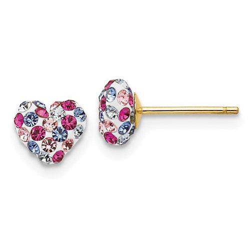 14k Multi-colored Crystal 6mm Heart Post Earrings
