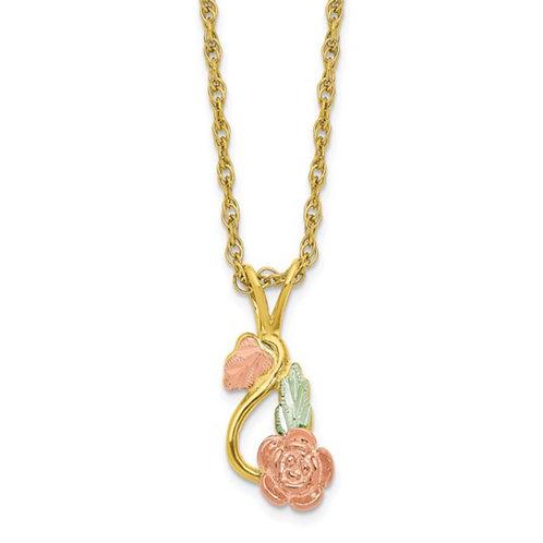 10K Tri-color with 14K Gold-filled Chain Black Hills Gold Necklace