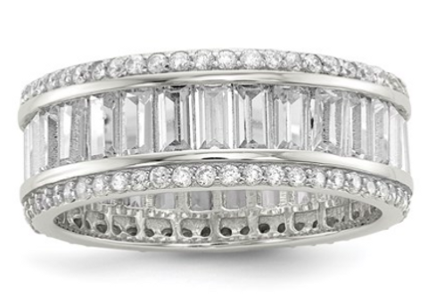 Sterling Silver Baguette And Round CZ Eternity Ring