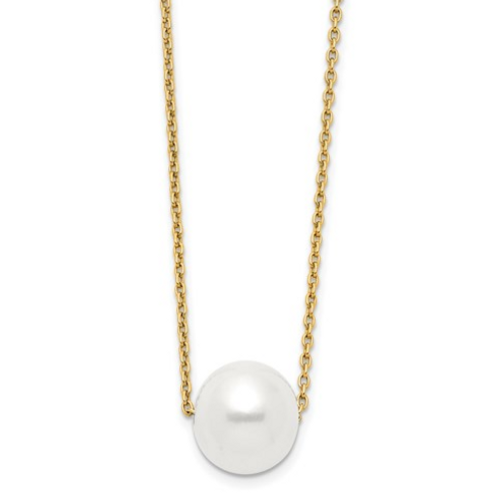 14k 10-11mm White Round Freshwater Cultured Pearl 17 In Cable Necklace