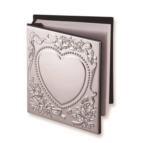 Chrome-Plated Sweetheart Holds 100- 4x6 Photo Album