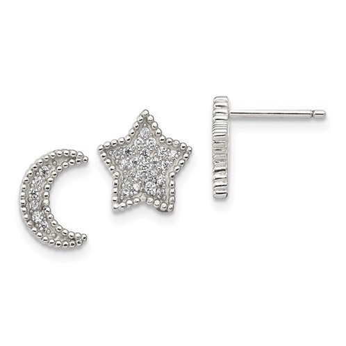 Sterling Silver Polished CZ Moon and Star Post Earrings