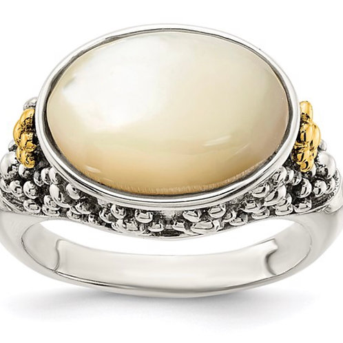 Sterling Silver with 14k Accent Floral Oval Mother Of Pearl Ring