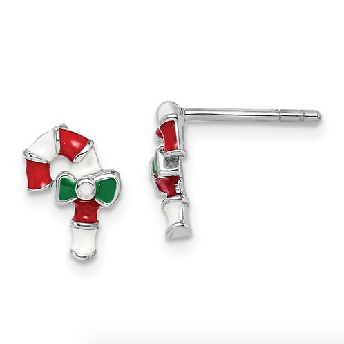 Sterling Silver Rhodium-plated Childs Enameled Candy Cane Post Earrings