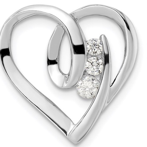 Sterling Silver Rhodium-plated CZ Fancy Heart Slide