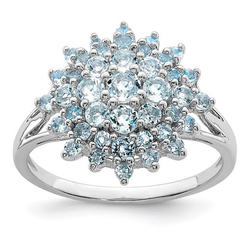 Sterling Silver Rhodium Aquamarine Ring