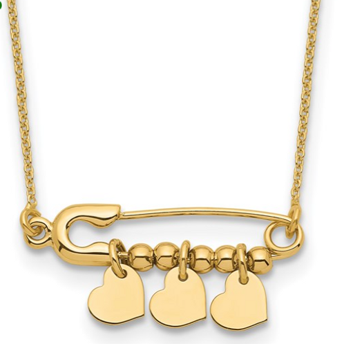 14K Safety Pin with Dangle Hearts Necklace