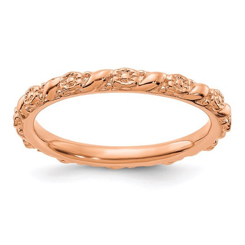 Sterling Silver Stackable Expressions Rose Gold-plated Flower Ring