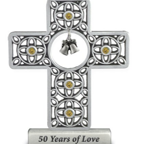 Silver-Tone 50 Years Of Love Standing Cross