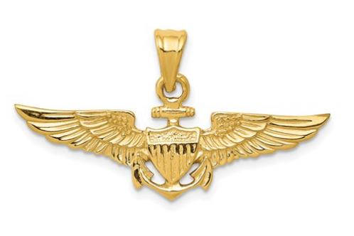 14k Large US Naval Aviator Badge Pendant