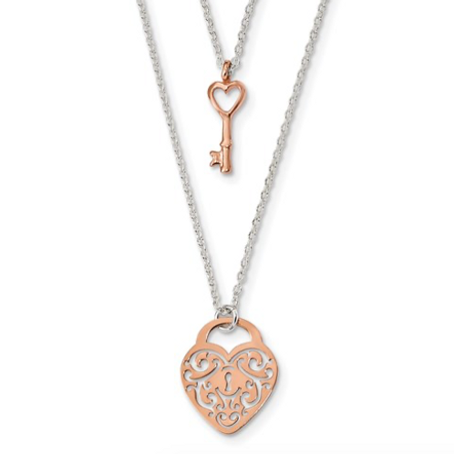 Sterling Silver And Rose-Tone Heart Lock And Key 2-Strand Necklace