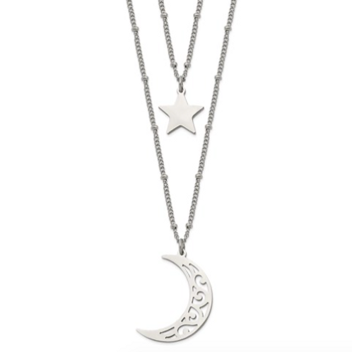 Stainless Steel Polished 2 Strand Beaded Star And Moon 30inch Necklace