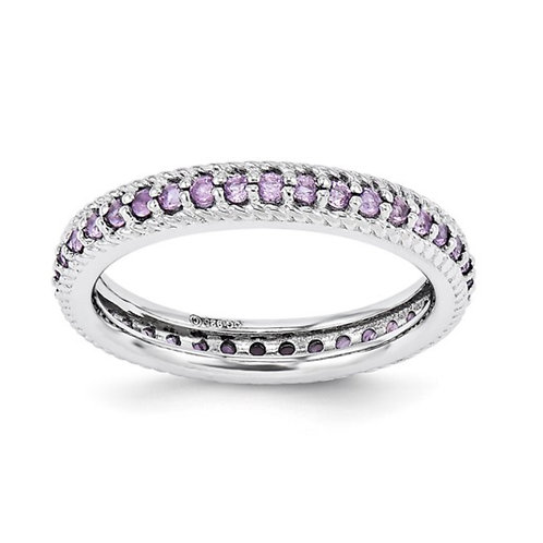 Sterling Silver Stackable Expressions Polished Amethyst Eternity Ring