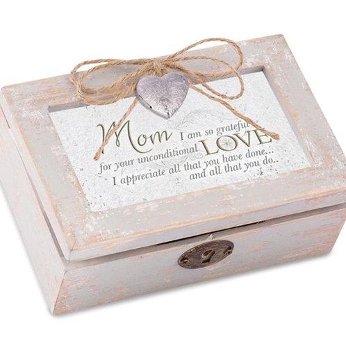 Distressed Finish Mom Heart Locket Music Box