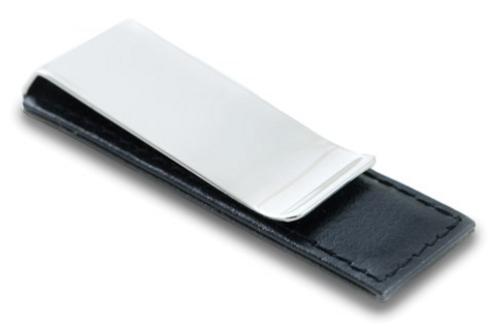 Black Leather Chrome-Plated Money Clip