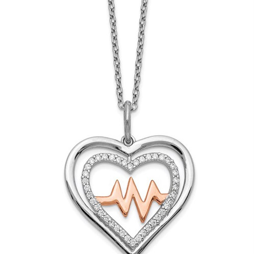 Sterling Silver RH-plated Rose-tone CZ Heartbeat with 2in ext Necklace