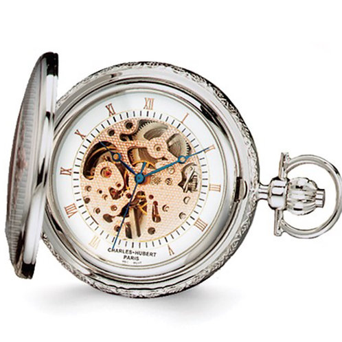 Charles Hubert Two-tone Rose Gold Finish Brass Pocket Watch