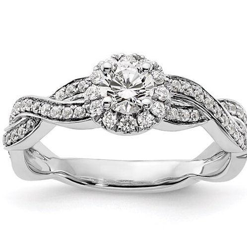 14kw Lab Grown Diamond SI1/SI2, G H I, Halo Engagement Ring