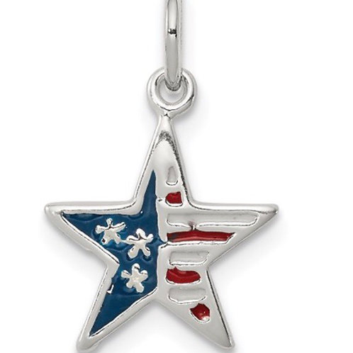 Sterling Silver Polished Enamel American Flag Star Pendant