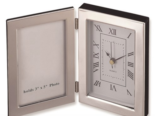 Silver-Plated Frame And Clock