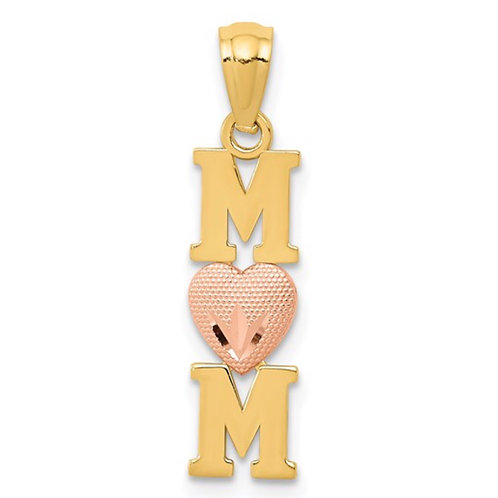 14k Yellow and Rose Satin/Polished MOM with Heart Pendant