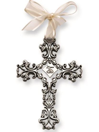 Silver-Tone 25 Years Filigree Cross