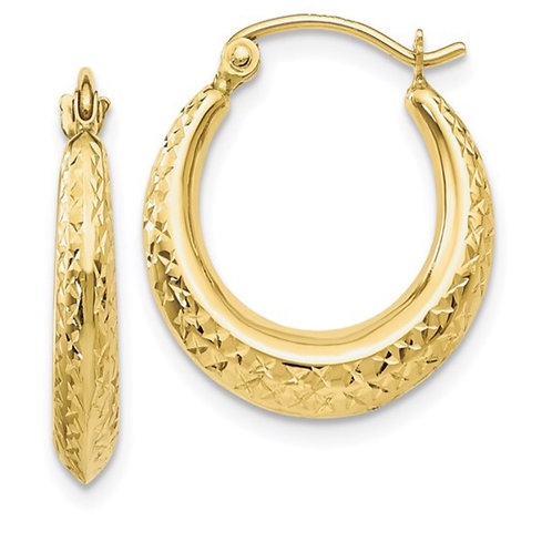 10K Textured Hollow Hoop Earrings