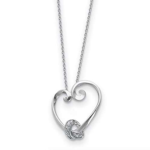 Sterling Silver And CZ Loveknots 18in Heart Necklace